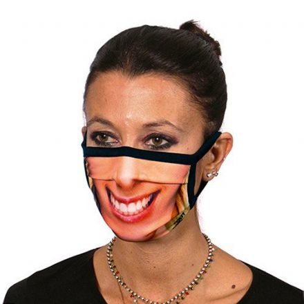 Smiling Woman Trendy Face Mask